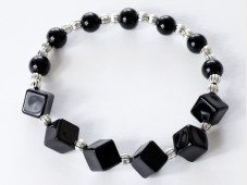 Black onyx cube stretch bracelet