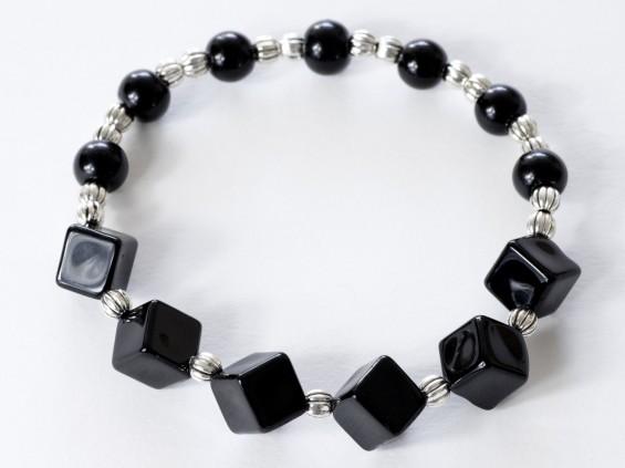 Black onyx cube stretch bracelet