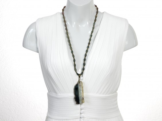 Moss green agate necklace