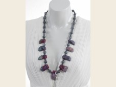 Purple agate & blue coral necklace