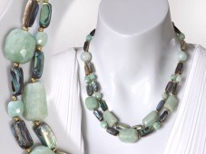 Amazonite and abalone necklace