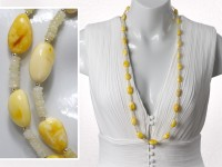 Long white amber necklace with yellow opal