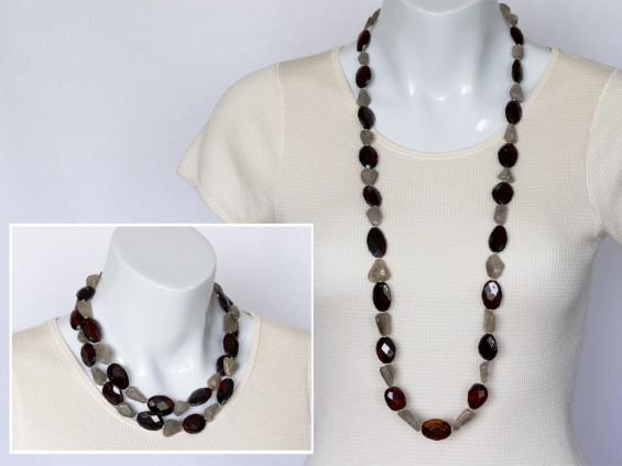 Amber & rutile quartz necklace