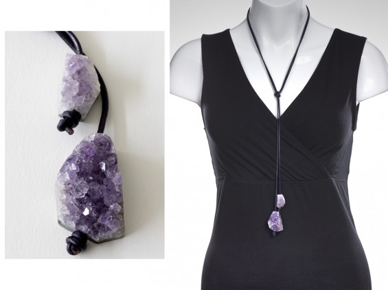 Amethyst on leather cord