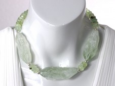 Green amethyst (prasiolite) necklace