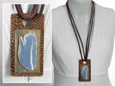 Angelite pendant on leather cord