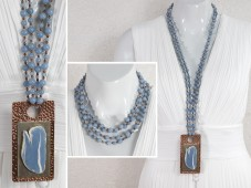 Angelite pendant on extremely long chain