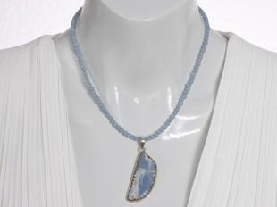 Angelite pendant - matching chain optional