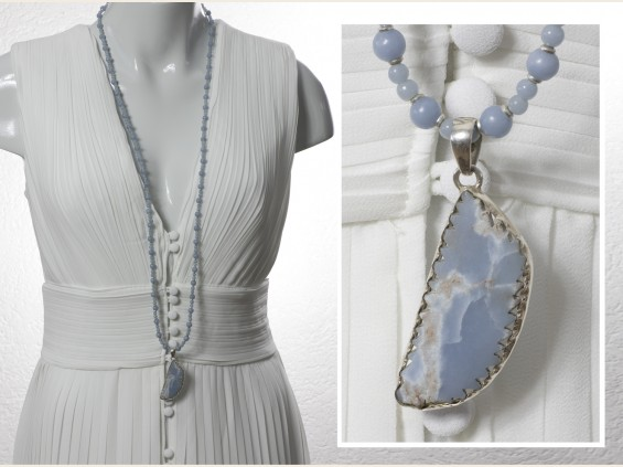 Angelite pendant with matching necklace