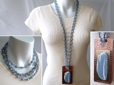 Long angelite necklace with pendant