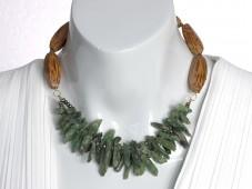 Green apatite crystals necklace