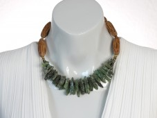 Green apatite crystals necklace