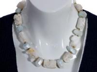 Aquamarine & quartz geode beads necklace