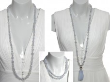 Long chalcedony necklace with pendant