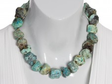 Raw blue chrysocolla necklace