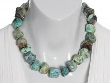Raw blue chrysocolla necklace