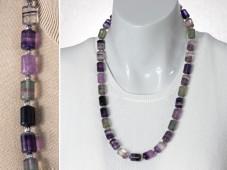 Purple rainbow fluorite necklace