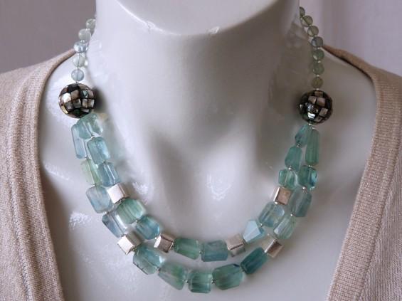 Blue green fluorite necklace