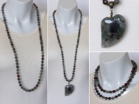 African bloodstone necklace with pendant
