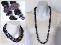 Long Amethyst, hypersthene and charoite necklace