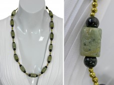 Olive green Jade medium lenght necklace