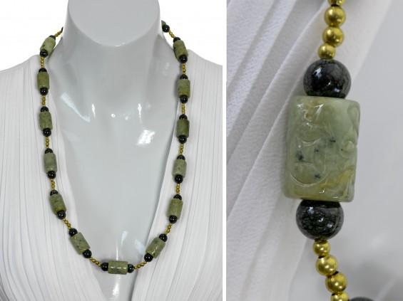 Olive green Jade medium lenght necklace