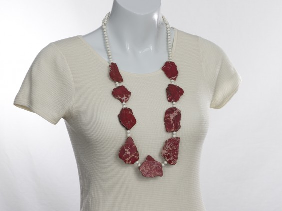 Long red sea sediment necklace