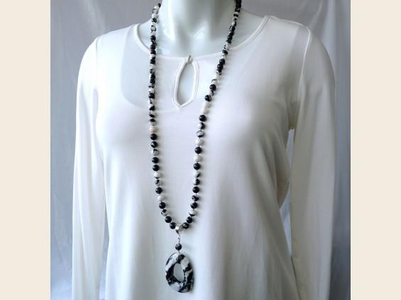 Zebra jasper necklace with pendant