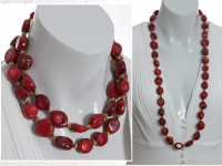 Robust long red coral necklace