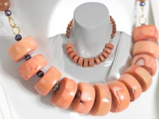 Salmon angelskin coral necklace