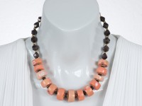 Angelskin coral and red garnet necklace