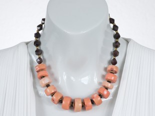Salmon coral and red garnet necklace