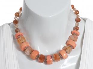 Salmon coral and quartz choker necklace