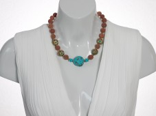 Red coral and blue turquoise necklace