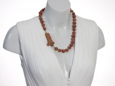Red raw coral necklace