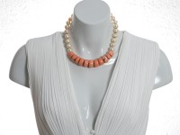 Angelskin coral and pearls choker necklace