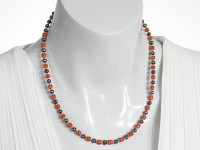 Antique red coral and black baroque pearl necklace