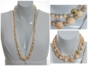 Long angel skin coral necklace
