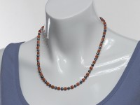 Red coral and black pearl necklace