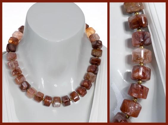 Hematite rock quartz necklace