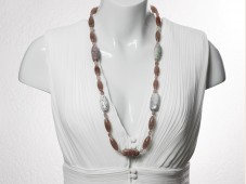 Long strawberry quartz & blood jasper necklace