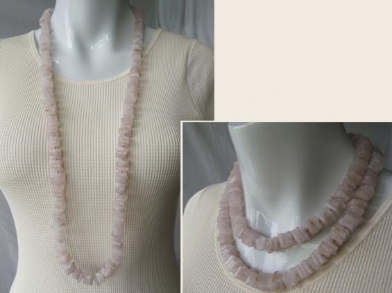 Square rose quartz necklace