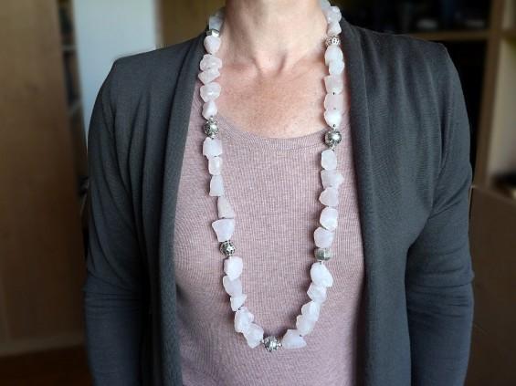 Long rose quartz necklace