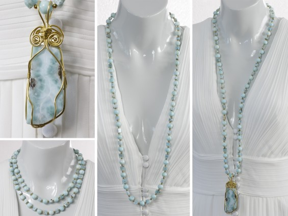 Long blue larimar necklace with separate pendant