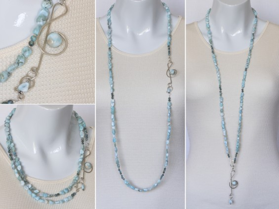 Elegant larimar necklace