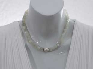White pearl and moonstone necklace