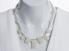 Silver 2 strand white moonstone necklace