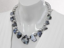 Blue rainbow moonstone necklace