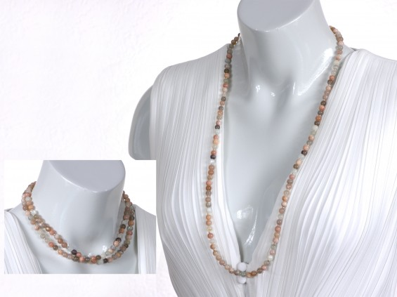Fine peach moonstone necklace