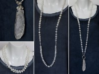 Long white moonstoon necklace with kunzite pendant